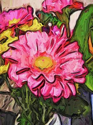 Digital Art - The Radiant Love Of The Pink And Yellow Flower by Jackie VanO