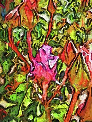 Digital Art - The Radiant Love Of The Pink Rosebud by Jackie VanO