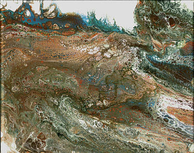 Mixed Media - The Raging River-acrylic Pour#8 by Richard Ortolano