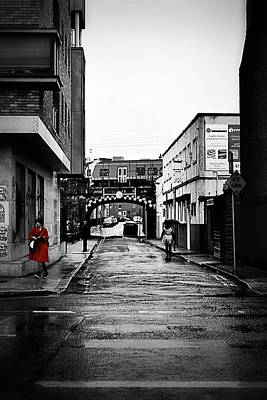 Photograph - The Rail And The Red Raincoat by Nadalyn Larsen