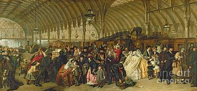 Oil Lamp Painting - The Railway Station by William Powell Frith