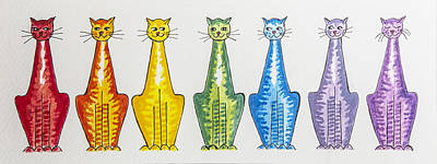 Moggy Painting - The Rainbow Cats by Gillian Short