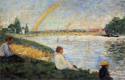 Bathing Painting - The Rainbow, Study For Bathers At Asnieres by Georges Seurat