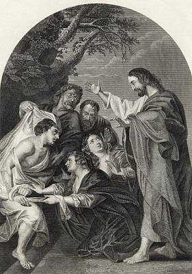 Bible Drawing - The Raising Of Lazarus Engraved By S by Vintage Design Pics