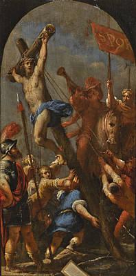 Painting - The Raising Of The Cross by Sebastiano Mazzoni