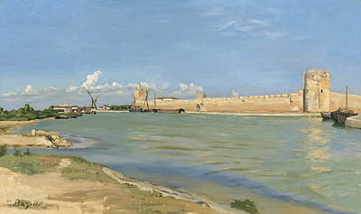 Medieval Painting - The Ramparts At Aigues Mortes by Jean Frederic Bazille