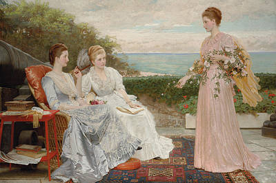 Holding A Flower Painting - The Ramparts by Charles Edward Perugini