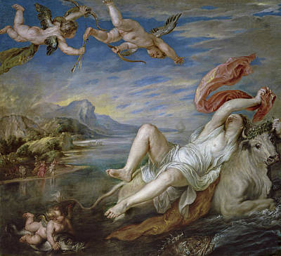 Seafood Painting - The Rape Of Europa, Copy Of Titian by Peter Paul Rubens