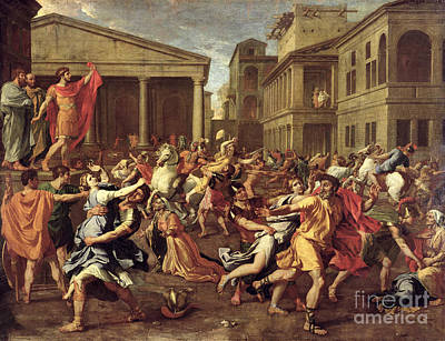 Crowds Painting - The Rape Of The Sabines by Nicolas Poussin