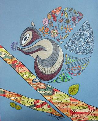 Mixed Media - The Rare North American Flower-tailed Squirrel by Jayne Somogy