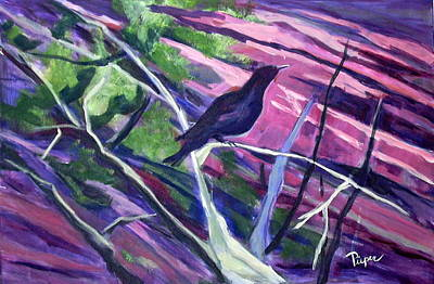 Park Scene Painting - The Raven by Betty Pieper