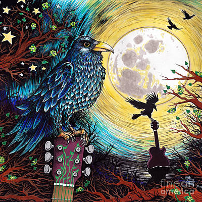 Crow. Bird Music Mixed Media - The Raven by Julie Oakes