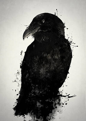 Ink Wall Art - Mixed Media - The Raven by Nicklas Gustafsson