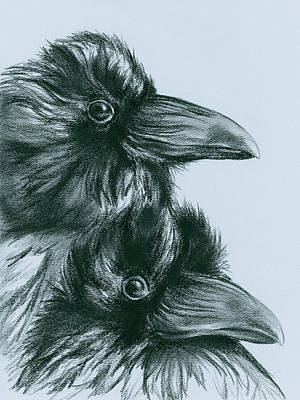 Drawing - The Ravens Of Odin by MM Anderson