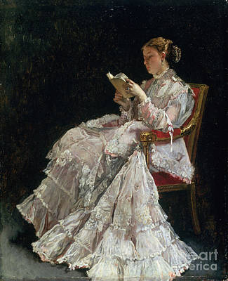 Gold Dress Painting - The Reader by Alfred Emile Stevens