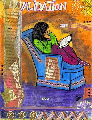 African-american Mixed Media - The Reader by Angela L Walker