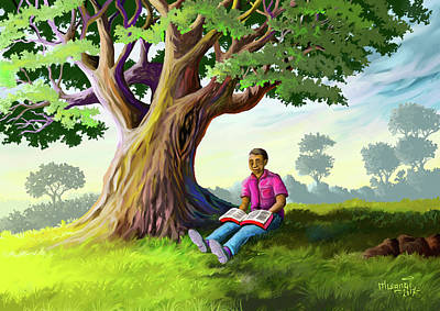 Painting - The Reader by Anthony Mwangi