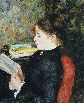 Alone Painting - The Reader by Pierre Auguste Renoir