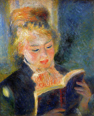 Reading Painting - The Reader, Woman Reading A Book by Pierre-Auguste Renoir
