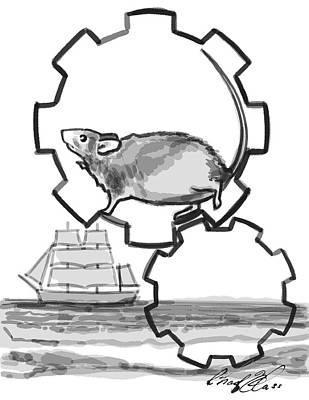 Hamster Drawing - The Real Illusion Of Our Own Prison by Chad Glass