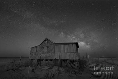 Abstract Stripe Patterns - The Real Jersey Shore At Night BW by Michael Ver Sprill