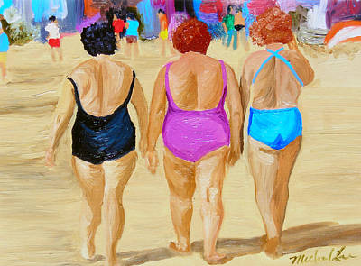Lady On The Beach Painting - The Real South Beach by Michael Lee