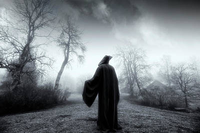 Art Print featuring the photograph The Reaper Moving Through Mist And Fog by Christian Lagereek