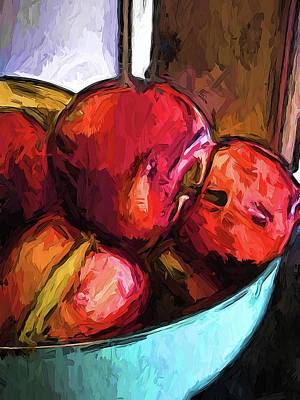 Digital Art - The Red Apples In The Bowl by Jackie VanO
