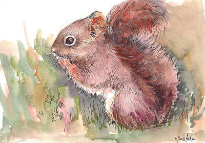 Painting - The Red Squirrel by Asha Sudhaker Shenoy