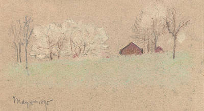 Red Barns Drawing - The Red Barn by Arthur Bowen Davies