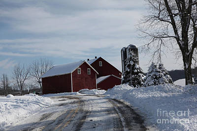 The Red Barn In The Snow Art Print