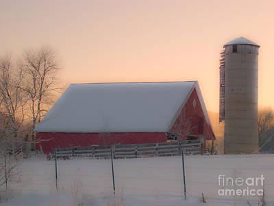 Barns In Snow Photograph - The Red Barn. by Itai Minovitz