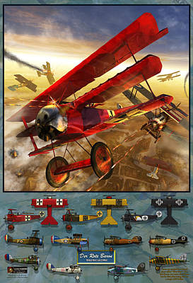 Bi Plane Digital Art - The Red Baron by Kurt Miller