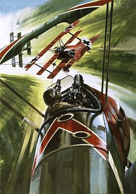 Plane Painting - The Red Baron by Wilf Hardy