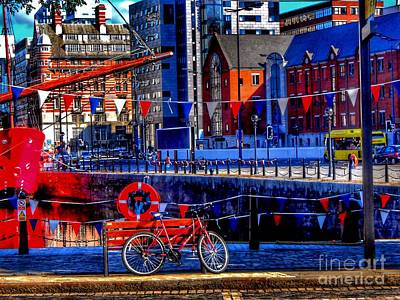 Photograph - The Red Bicycle At Albert Dock by Joan-Violet Stretch