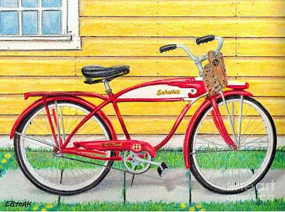 Baseball Gloves Drawing - The Red Bike by Eric Bjork