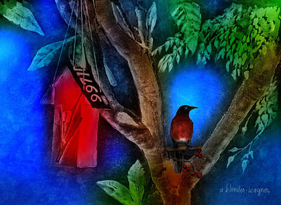 Birdhouse Photograph - The Red Birdhouse by Arline Wagner