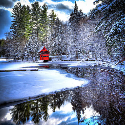 Snowy Brook Photograph - The Red Boathouse On Beaver Brook 2 by David Patterson