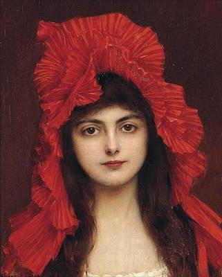 The Red Bonnet Art Print by Albert Lynch