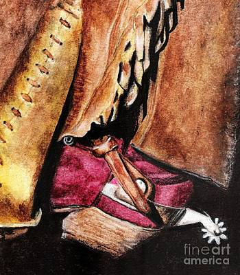 Cowgirl Boots Painting - The Red Boot by Frances Marino