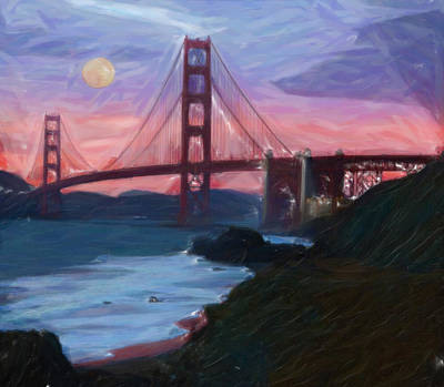 Sanfrancisco Painting - The Red Bridge by Adam Asar