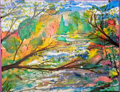 The Red Bridge At The Swift River Art Print