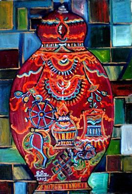 Tibetan Buddhism Painting - The Red Buddhism Pot by Rizwana Mundewadi