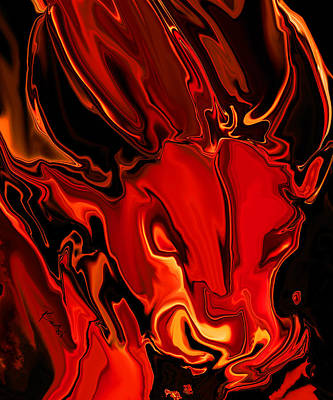 Art Print featuring the digital art The Red Bull by Rabi Khan