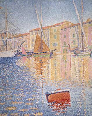 Pointillist Painting - The Red Buoy by Paul Signac