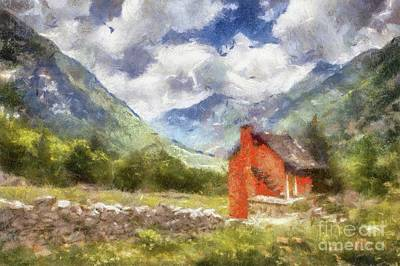 Impressionist Landscapes - The Red Cabin by Sarah Kirk by Esoterica Art Agency