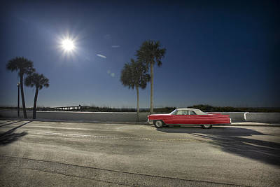 Photograph - The Red Cadillac by Al Hurley