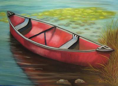 The Red Canoe Art Print by Marcia  Hero