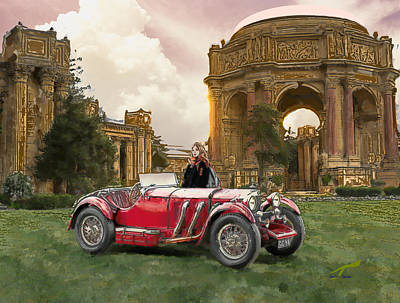 Digital Art - The Red Car by Yuichi Tanabe