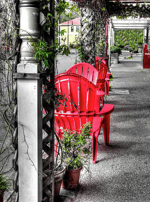 Photograph - The Red Chairs In Bandon Old Town by Thom Zehrfeld